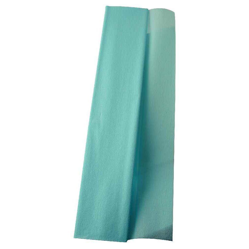 Papier crépon supérieur - 250x50 cm - Bleu turquoise - Paquet de 10 feuilles