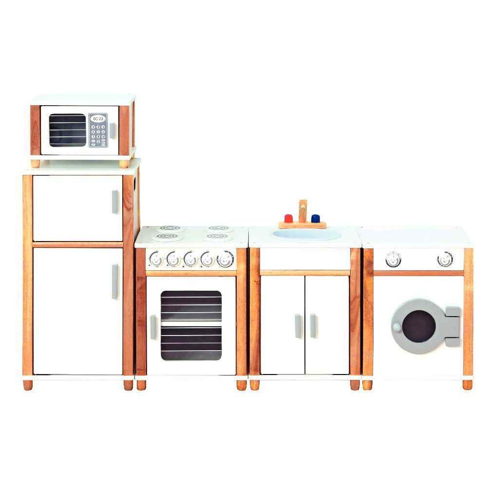 Coin cuisine quip e en bois vinco educational meubles for Meuble de cuisine equipee