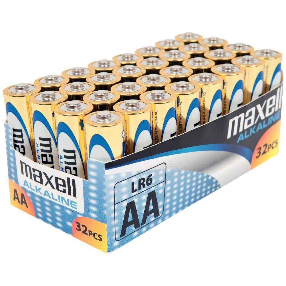 Piles Alcaline 1,5V LR06 AA Maxell - Lot de 32