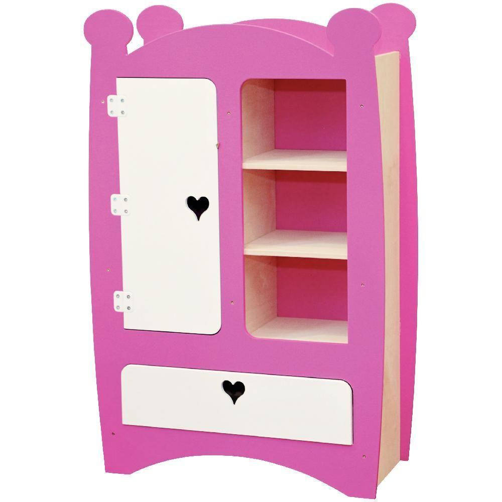 armoire en bois pour v tements de poup es jb bois. Black Bedroom Furniture Sets. Home Design Ideas