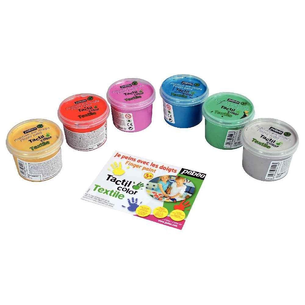 Peinture aux doigts pour textile - Boîte de 6 pots de 100ml