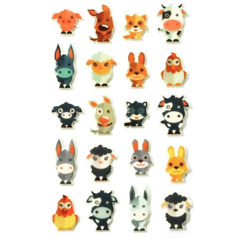Stickers déco 3D Cooky - Animaux - Pochette de 160