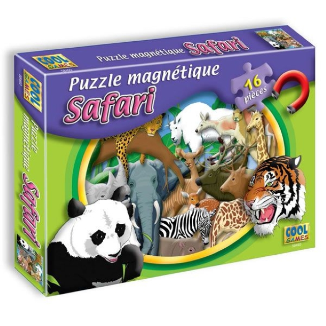 puzzle magn tique 39 safari 39 puzzle plastifi de 16 pi ces magn tiques carr es les enfants. Black Bedroom Furniture Sets. Home Design Ideas
