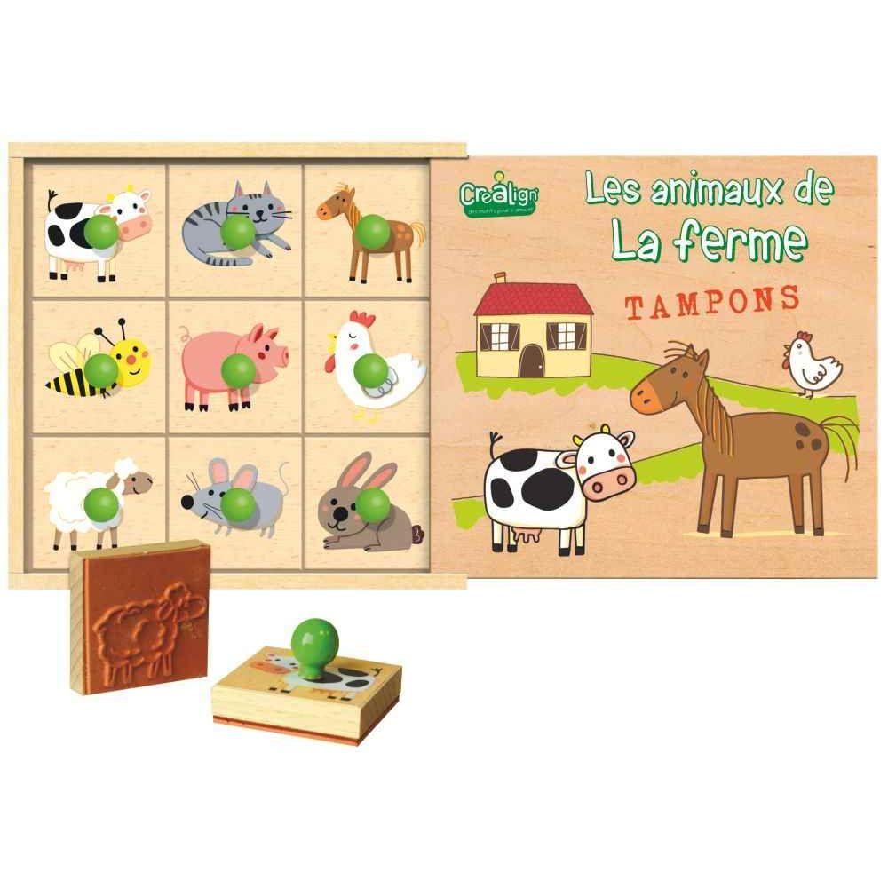 coffret de 9 tampons les animaux de la ferme crea lign 39 eponges peindre sur planet eveil. Black Bedroom Furniture Sets. Home Design Ideas