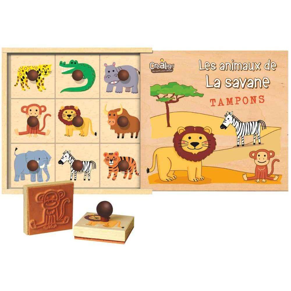 coffret de 9 tampons les animaux de la savane crea lign 39 eponges peindre sur planet eveil. Black Bedroom Furniture Sets. Home Design Ideas
