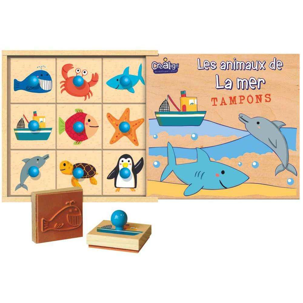 Coffret en bois de 9 tampons les animaux de la mer - Code de reduction delamaison ...