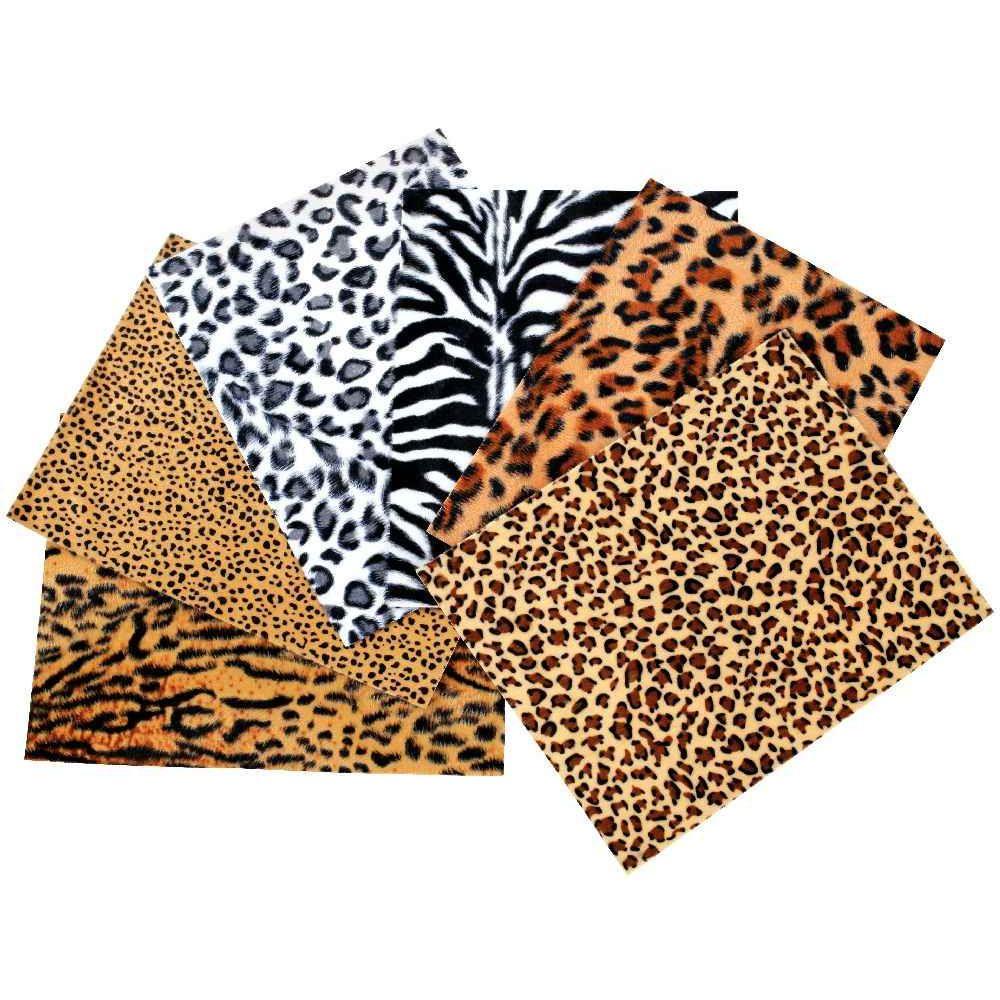 Tissus pelage safari adhésifs - Lot de 6