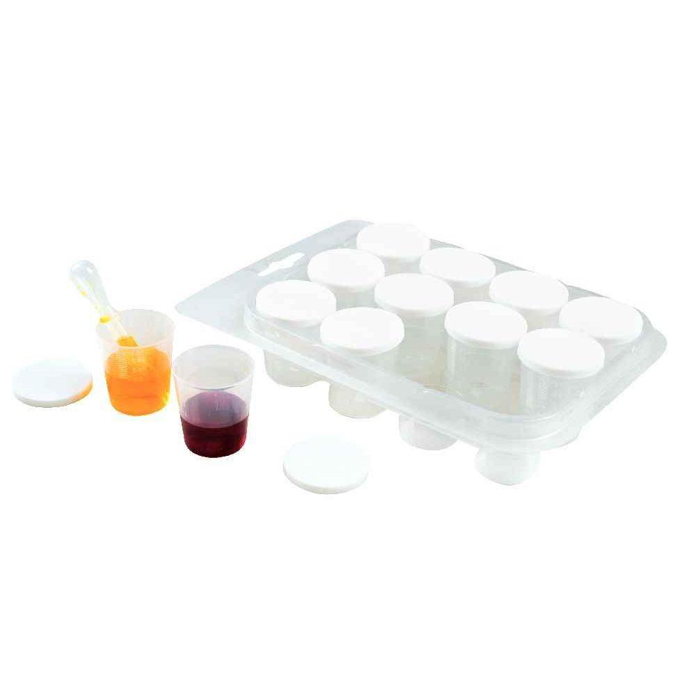 Kit de 12 pots gradués avec couvercle 30 ml + 1 pipette