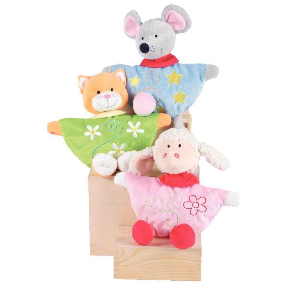 Doudou Marionnette animaux - 1 chat - 1 mouton - 1 souris