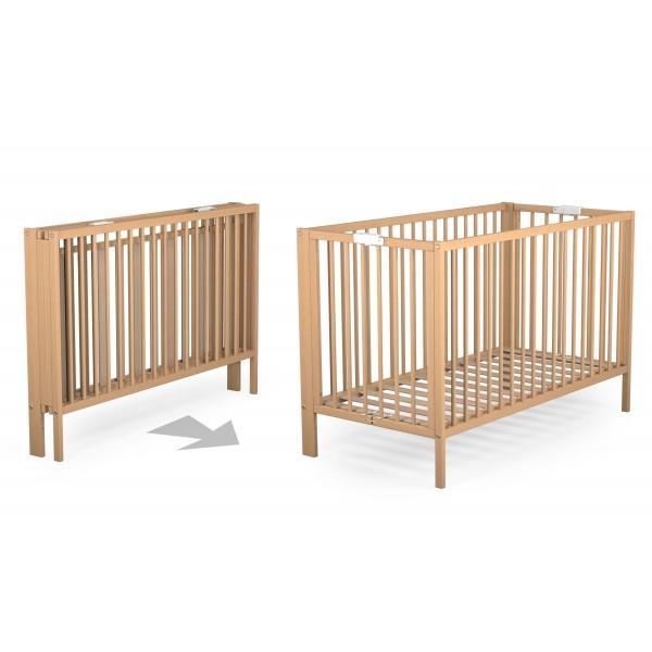 lit pliant en h tre vernis 124x64 cm ateliers t4. Black Bedroom Furniture Sets. Home Design Ideas