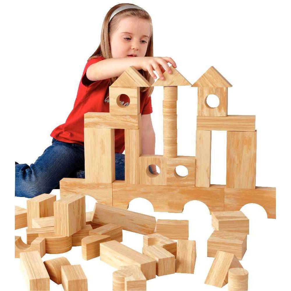 Jeu de construction imitation bois, 68 pièces  Edx  ~ Jeu Construction Bois