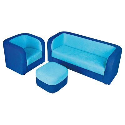 sofa 3 places en tissu bleu fonc et turquoise nowa. Black Bedroom Furniture Sets. Home Design Ideas