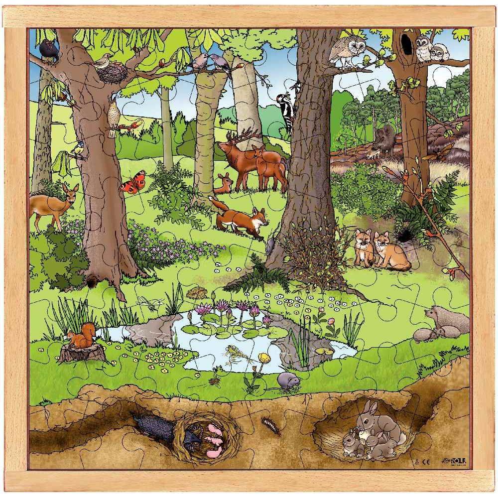 Puzzle d'observation de 64 pièces 'La forêt au printemps / été'