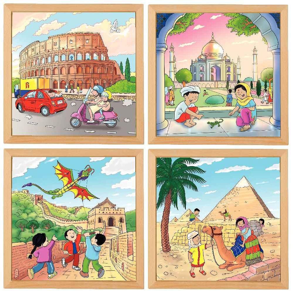 Puzzle de  81 pièces Merveilles du monde - Lot de 4