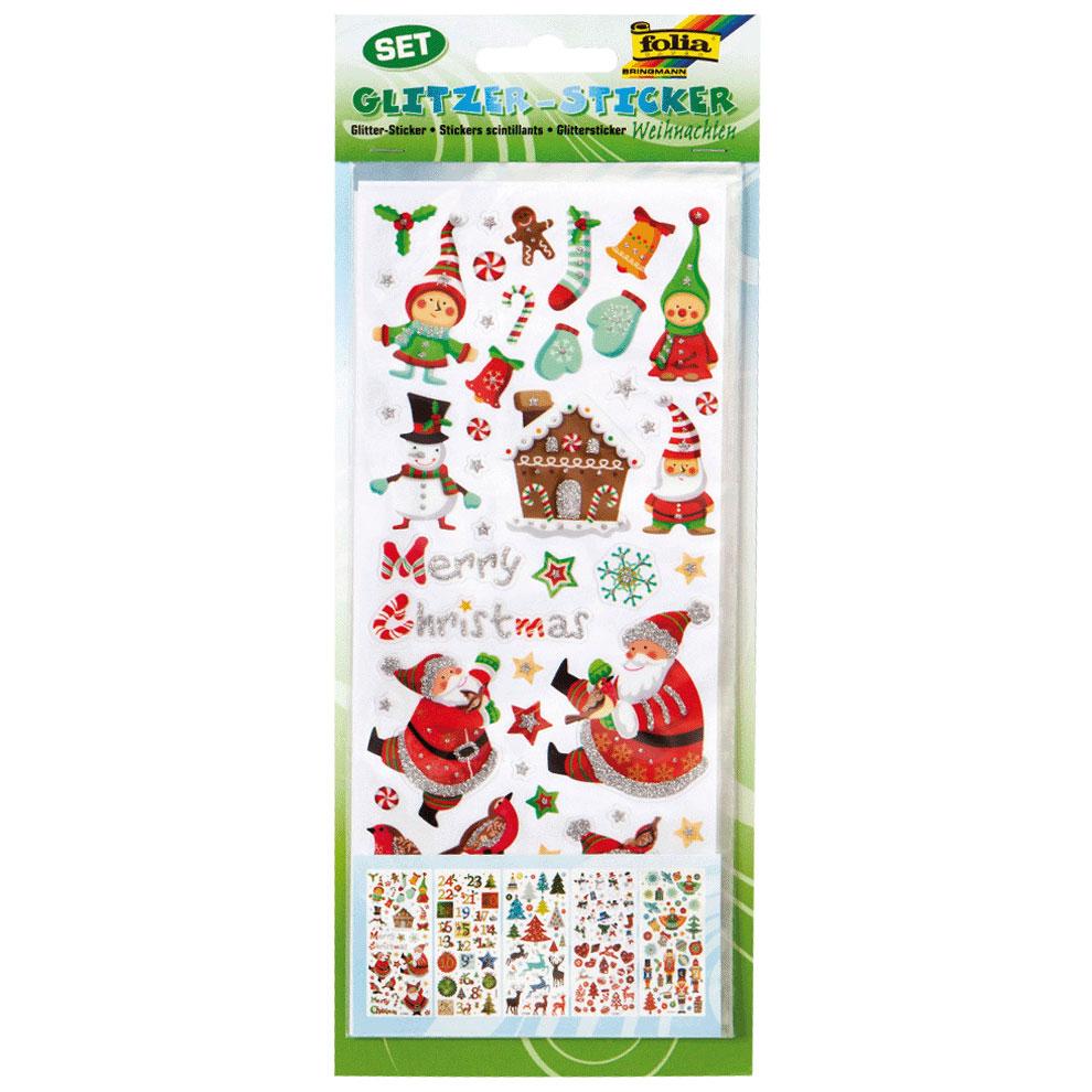 Stickers 3D scintillants Noel - Pochette de 5 planches