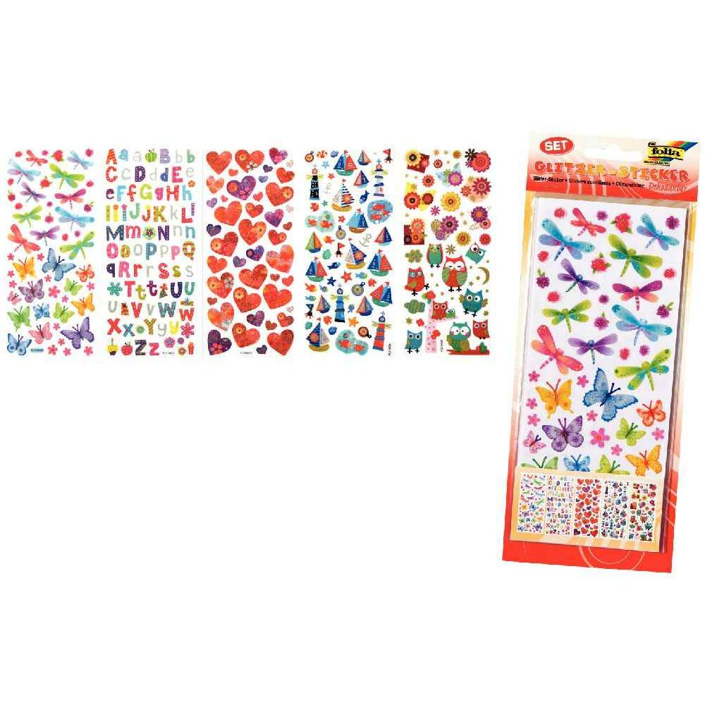 Stickers scintillants assortis 'Fantaisie' - Pochette de 5 planches