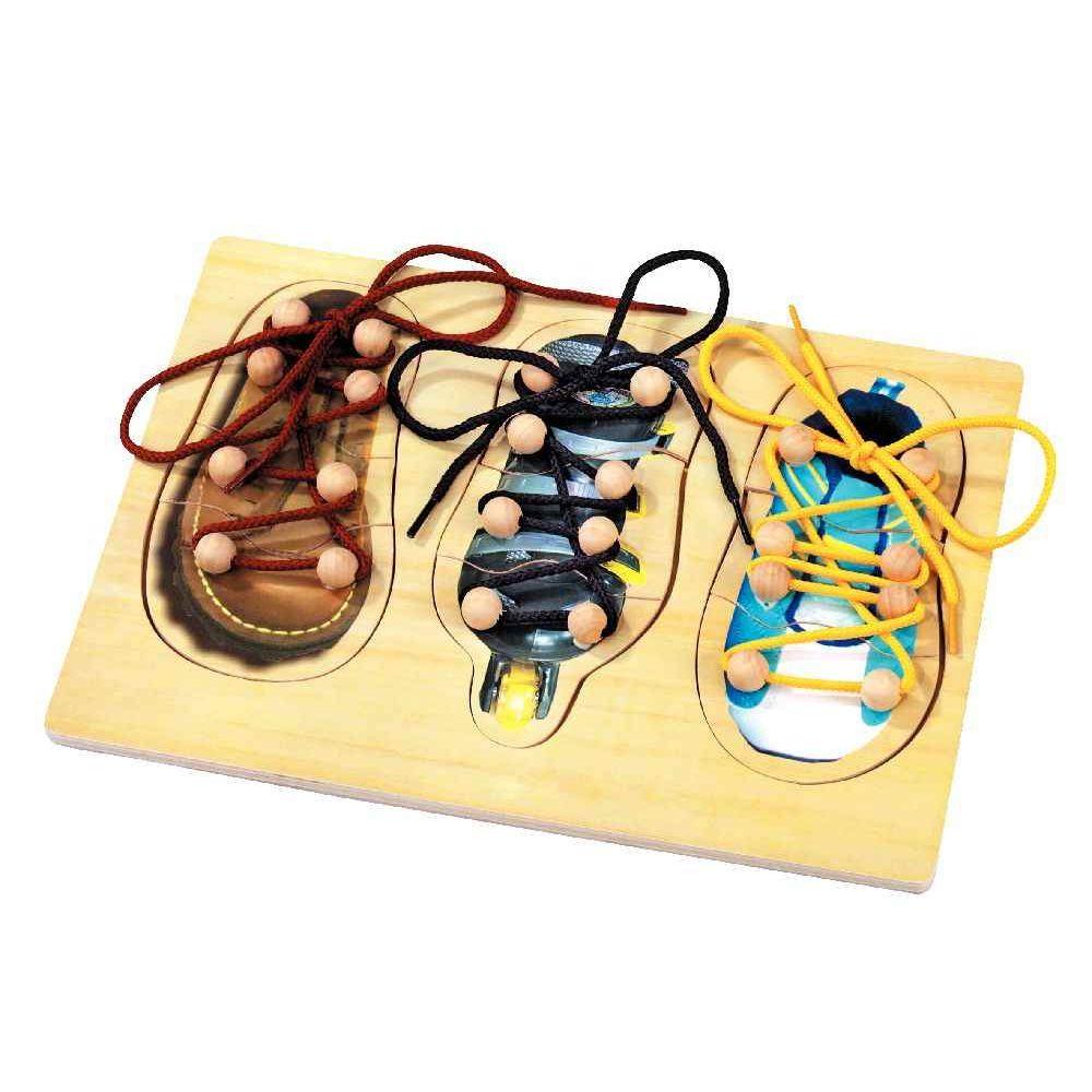 Chaussure à lacer - Encastrement de 3 puzzles à lacer