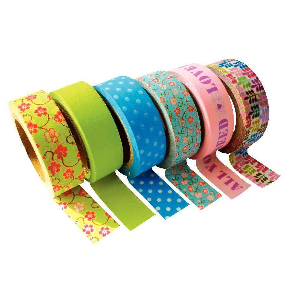 Ruban adh sif masking tape printemps lot de 6 pw for Rubans adhesifs decoratifs