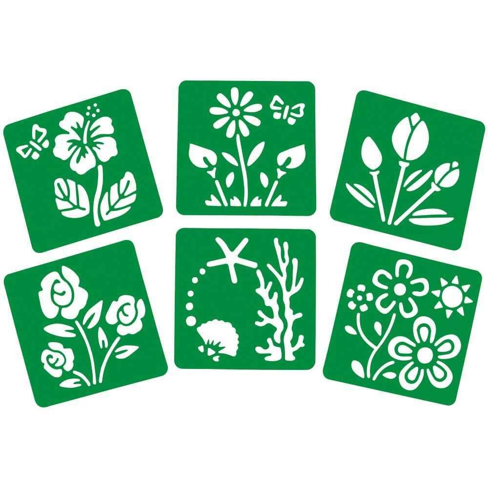 Pochoirs trace contour - Les fleurs - Paquet de 6