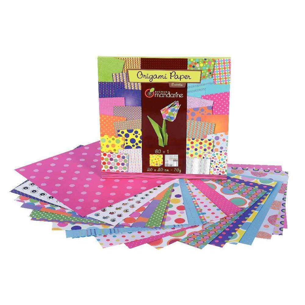 Avenue mandarine - Papier Origami Paper Bubbles - Pochette de 60