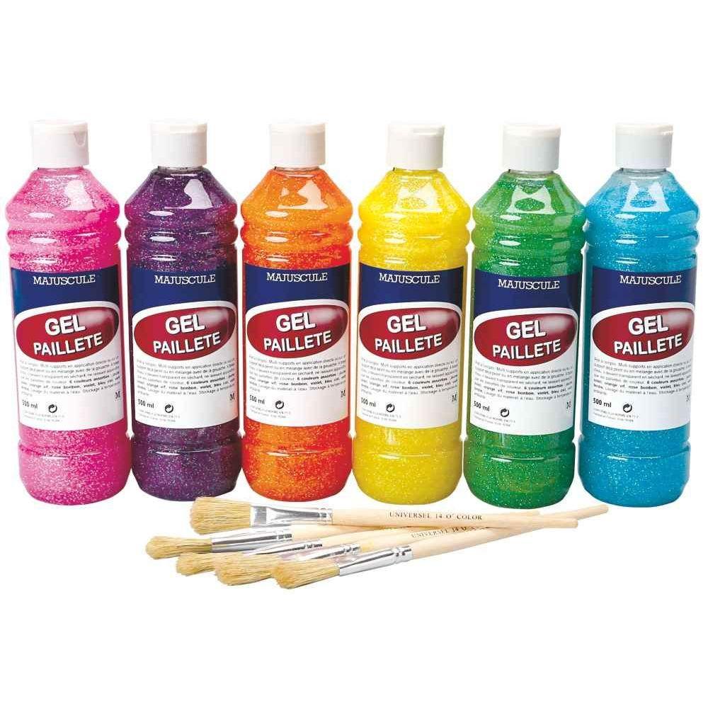 Carton de 6 flacons de 500ml de gel paillet coloris arc - Peinture transparente pailletee ...