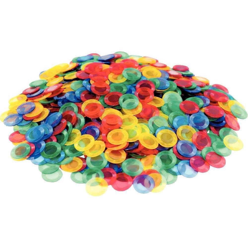 Jeton transparent de coloris assortis - Boîte de 1000
