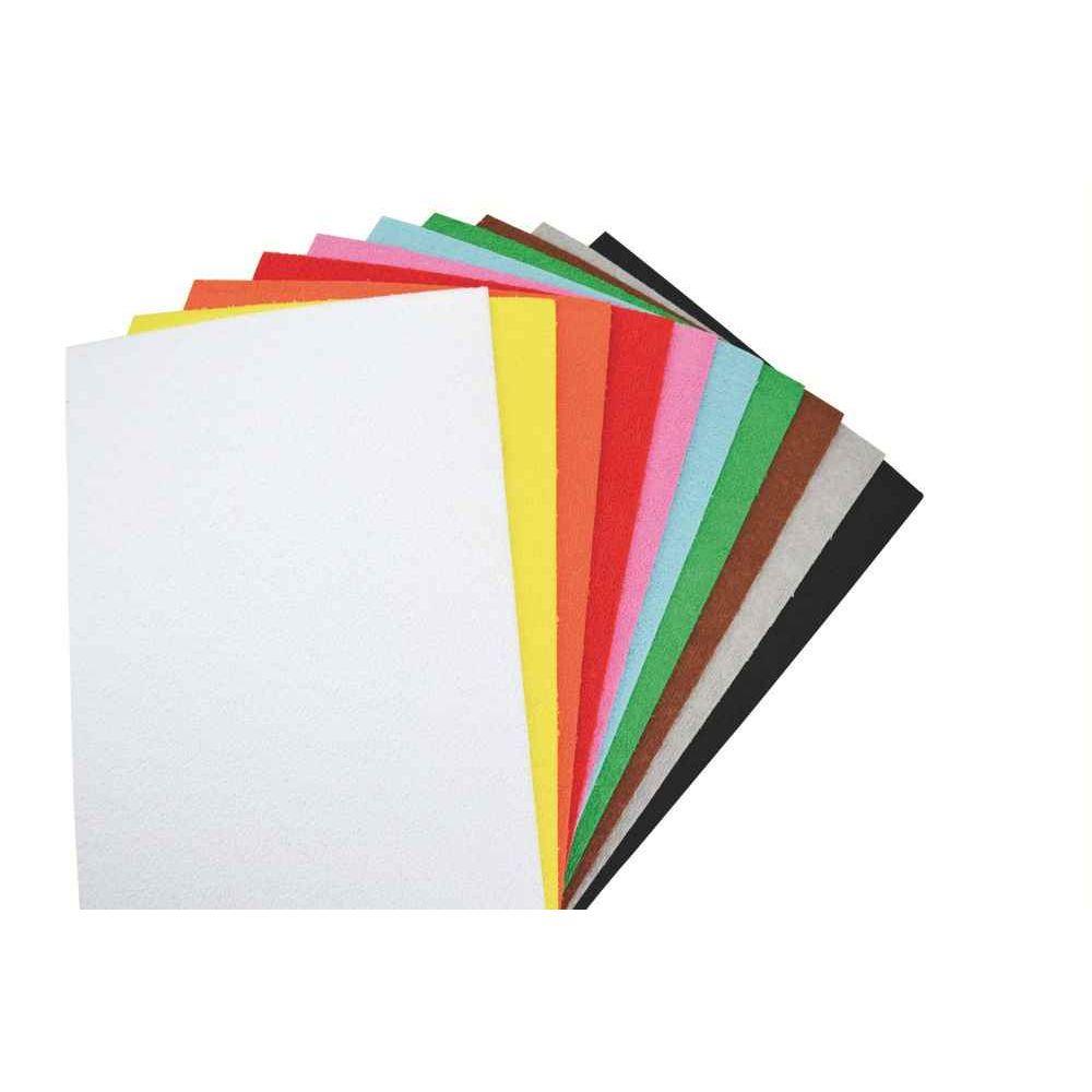 Feuilles de caoutchouc 21 x 27,5 cm effet éponge, coloris assortis - Sachet de 10