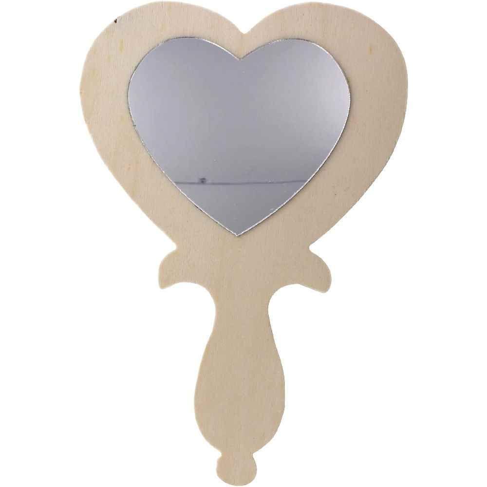 Miroirs main en bois d corer en forme de coeur lot for Coeur couronne et miroir