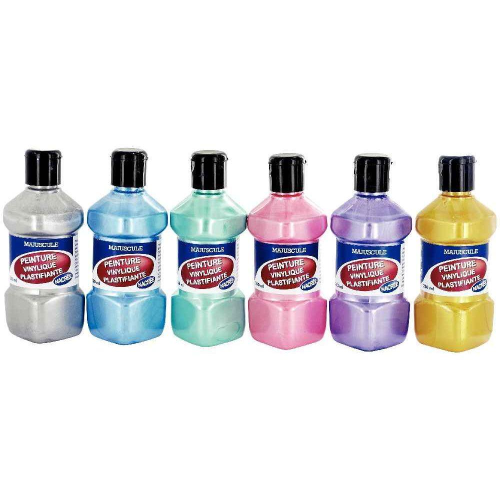 peinture vinylique plastifiante couleurs nacr es assorties lot de 6 flacons de 250ml. Black Bedroom Furniture Sets. Home Design Ideas