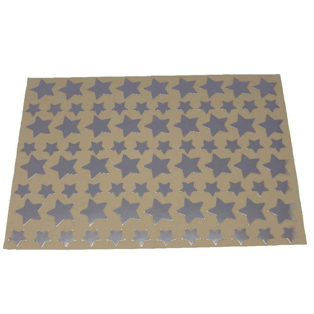 Gommettes étoiles Argent métalisées - Pochette de 672