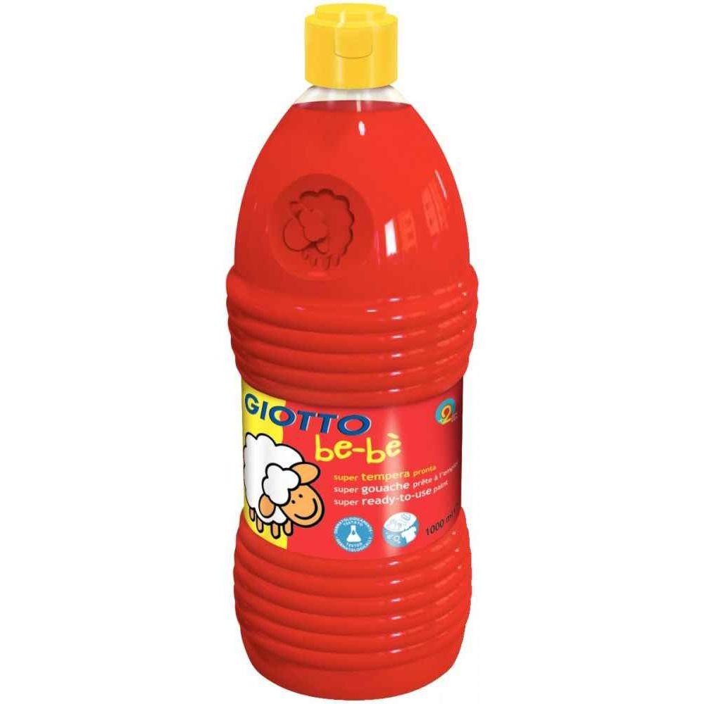 Gouache GIOTTO bébé, coloris Rouge - Flacon de 1 litre