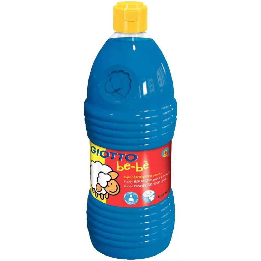 Gouache GIOTTO bébé, coloris Cyan - Flacon de 1 litre