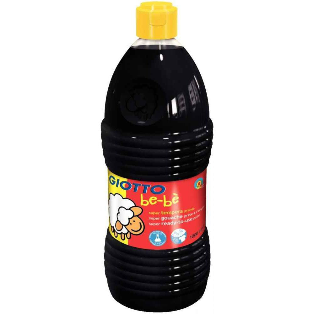 Gouache GIOTTO bébé, coloris Noir - Flacon de 1 litre