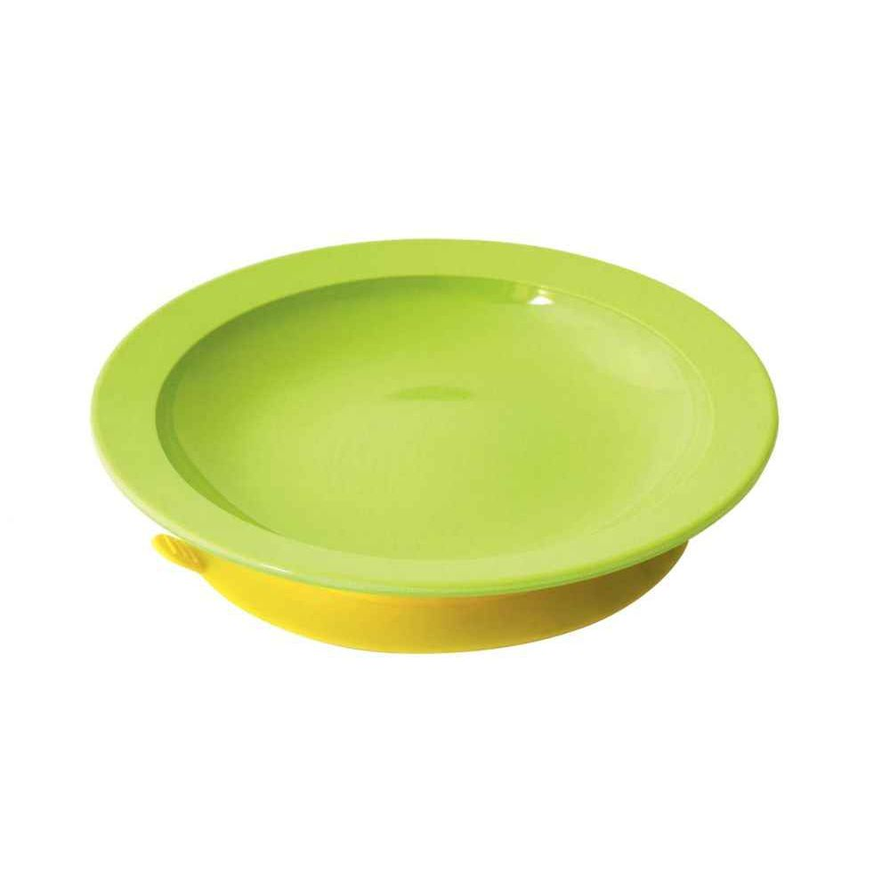 assiette m lamine verte avec ventouse vaisselle sur planet eveil. Black Bedroom Furniture Sets. Home Design Ideas