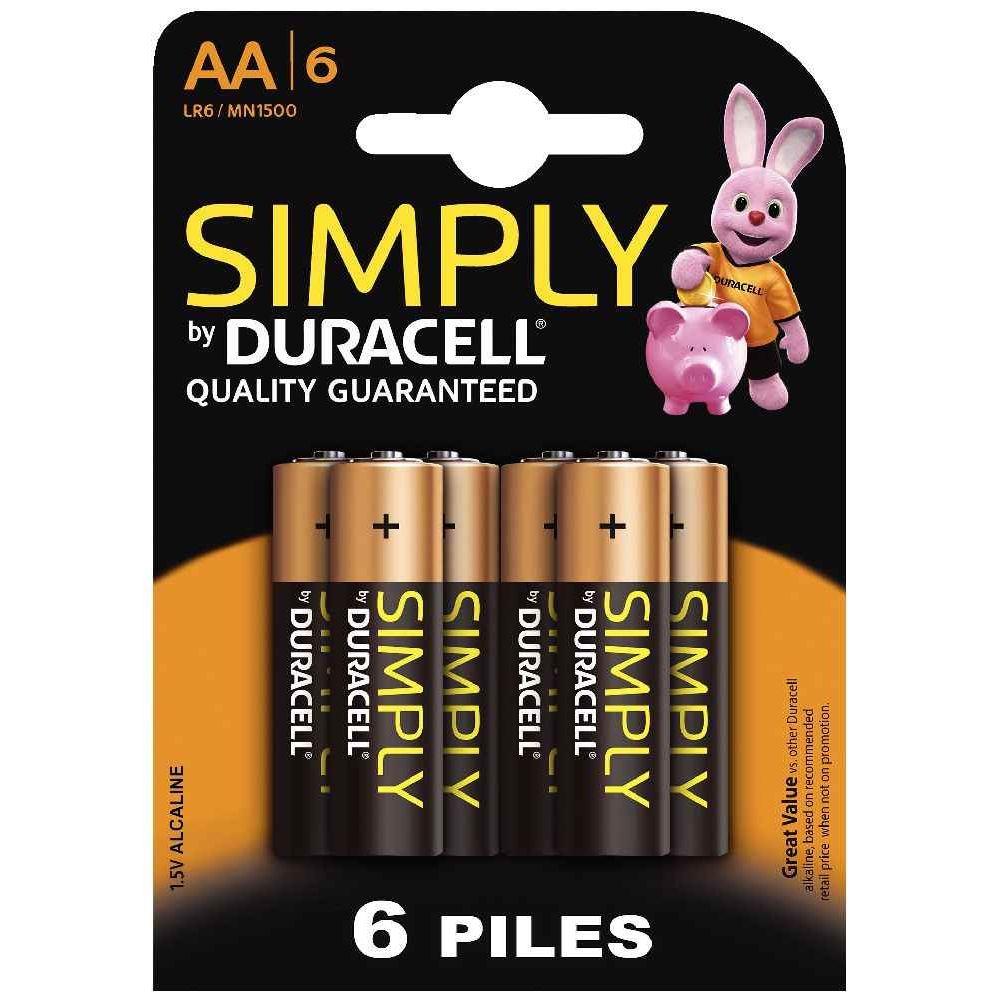 Piles 1.5v SIMPLY LR06 Alcaline - Blister de 6