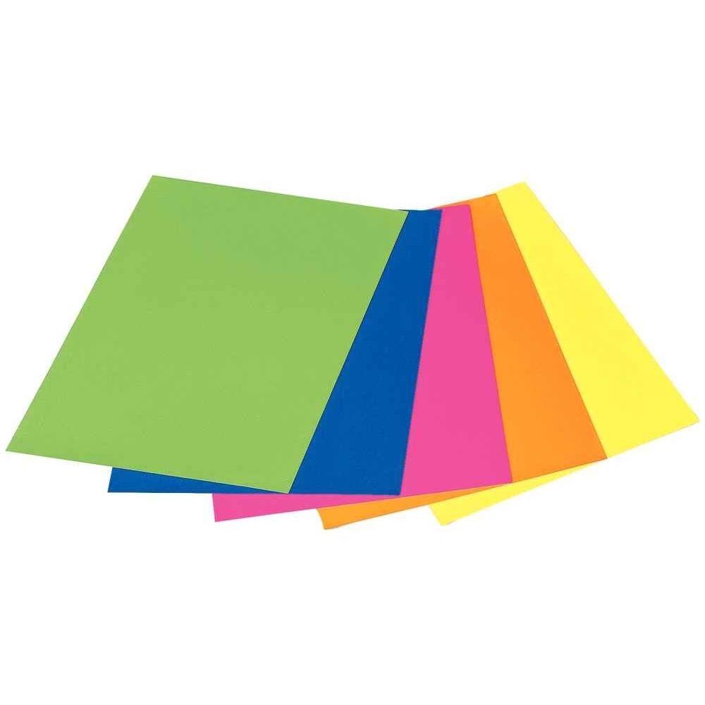 Feuilles de caoutchouc souple lisse couleurs fluo - Sachet de 5