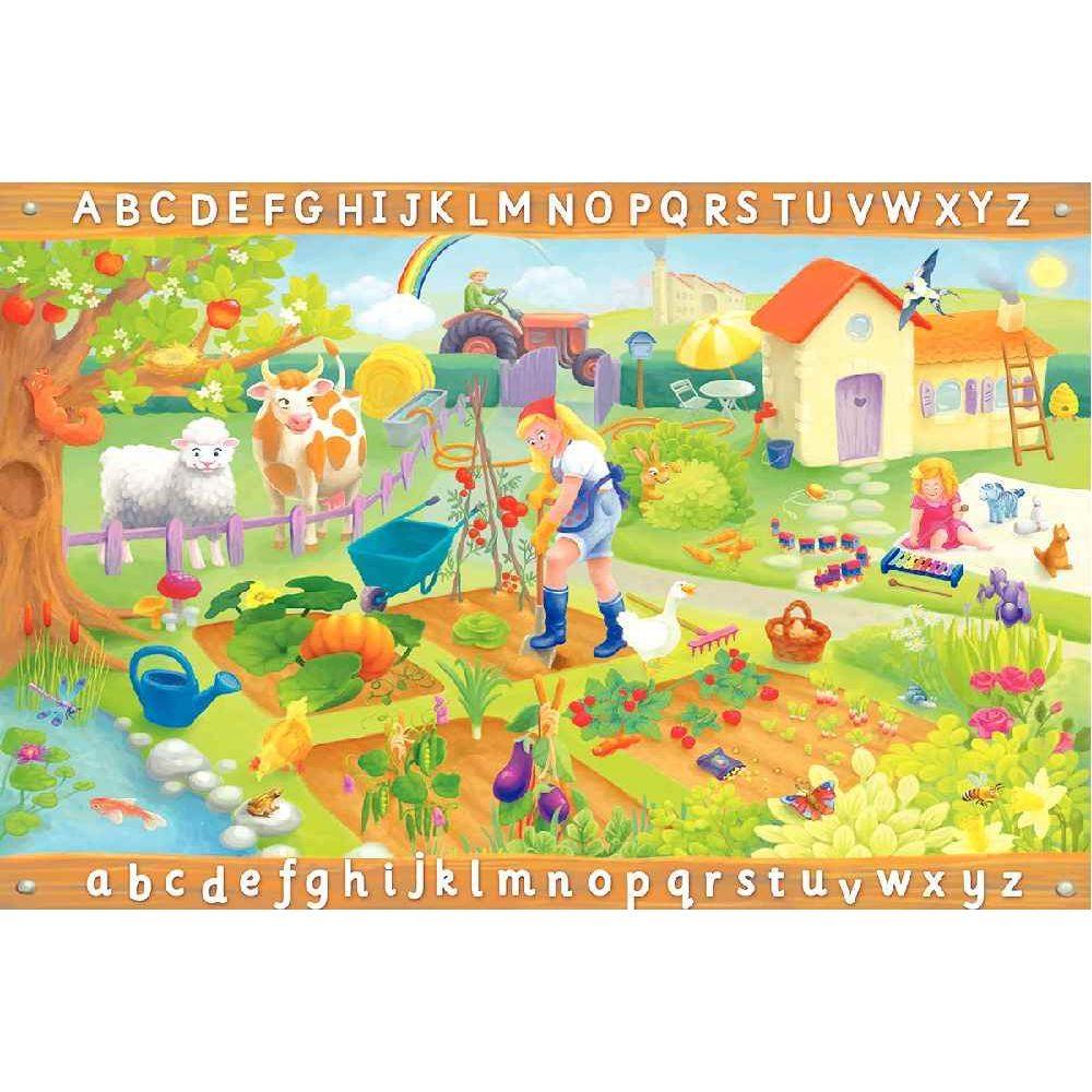 Tapis 1.5x1m alphabet la ferme