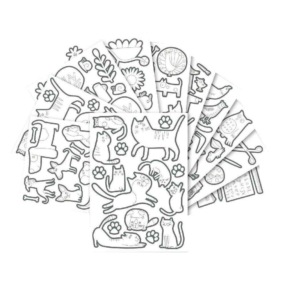 Maxi gommettes adhésives repositionnables à colorier - Pochette de 274