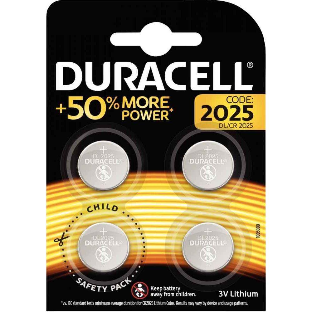 Piles lithium 3V CR2025 DURACELL - Blister de 4
