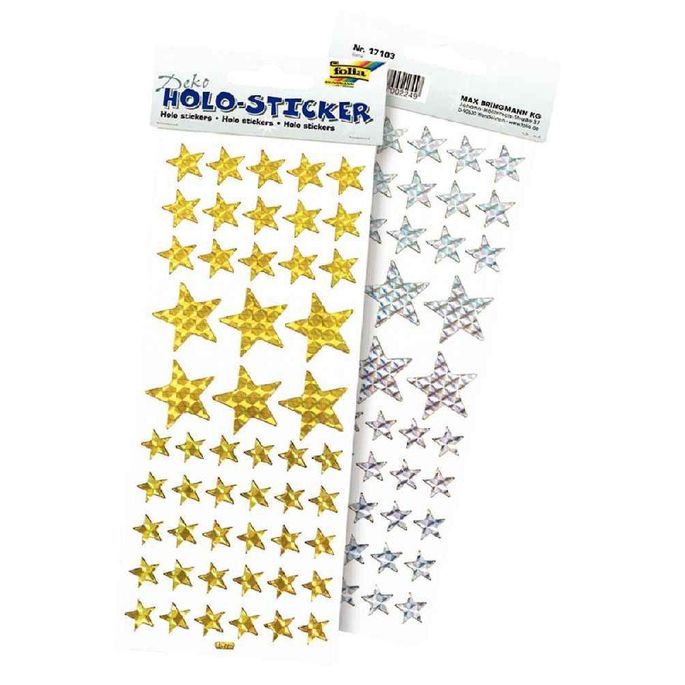 Gommettes étoiles holographiques or et argent - Paquet de 102