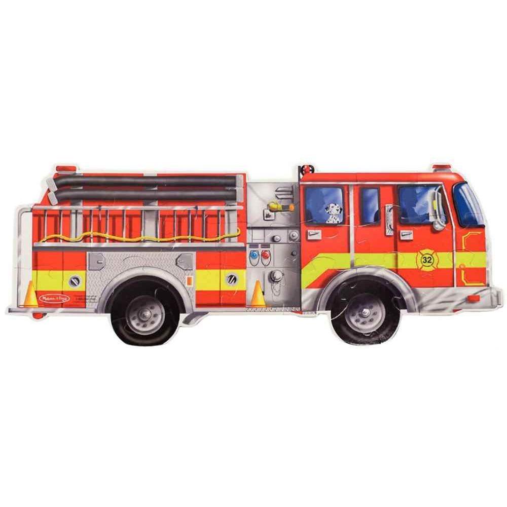 Puzzle de sol 24 pièces, camion de pompiers