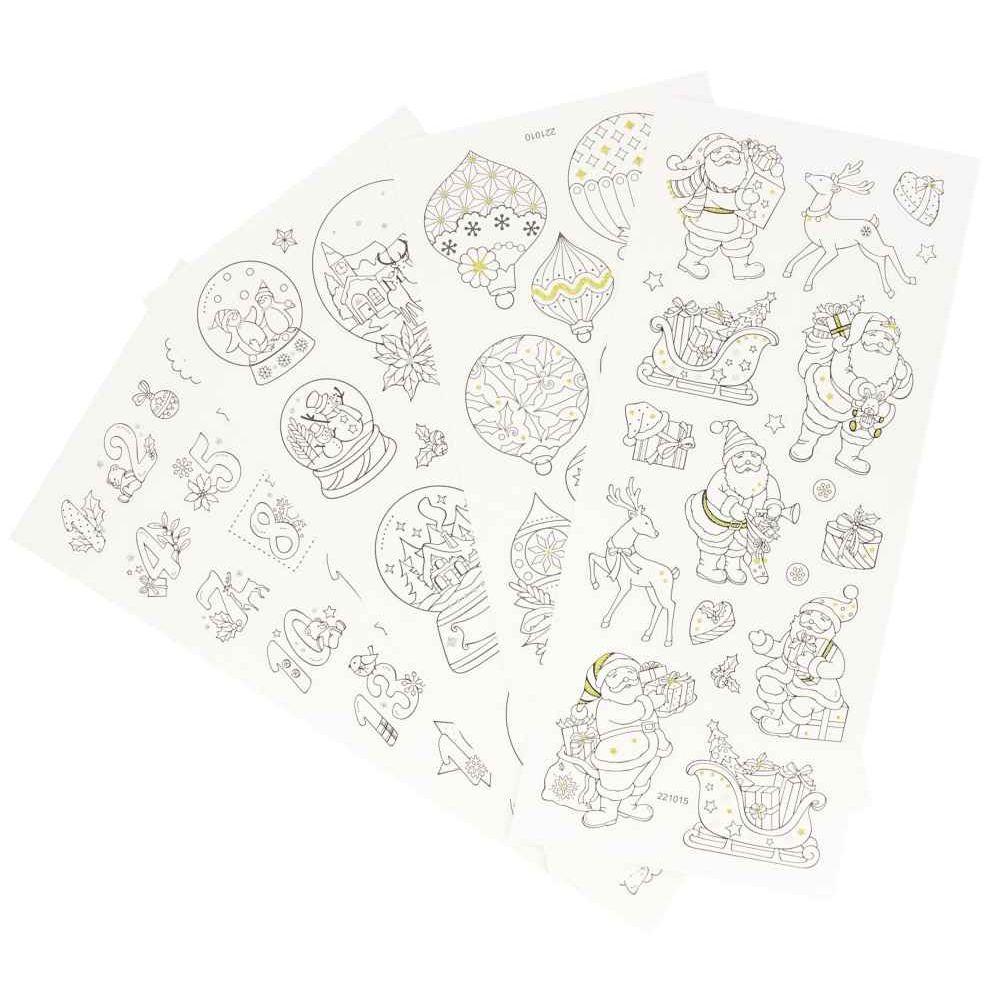 Stickers de Noël pailletés à colorier - Pochette de 70