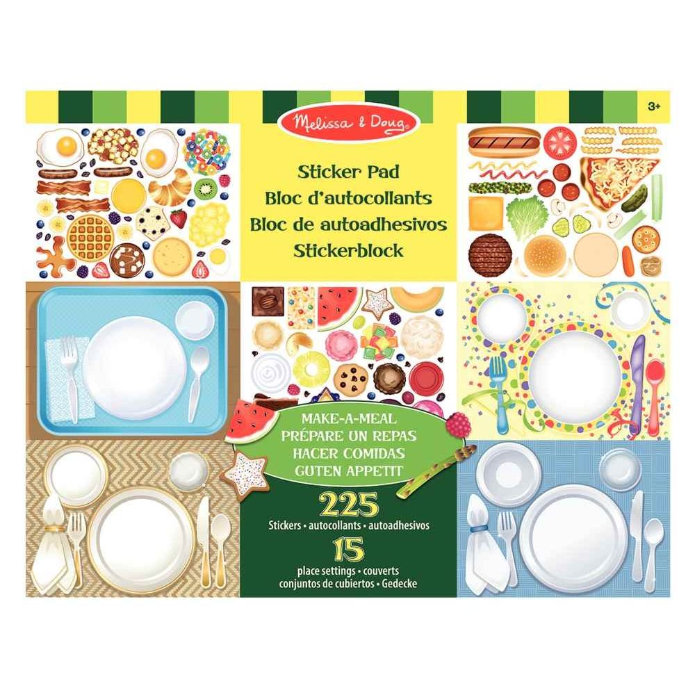Pochette de 225 Stickers non repositionnables thème repas + 15 planches couverts