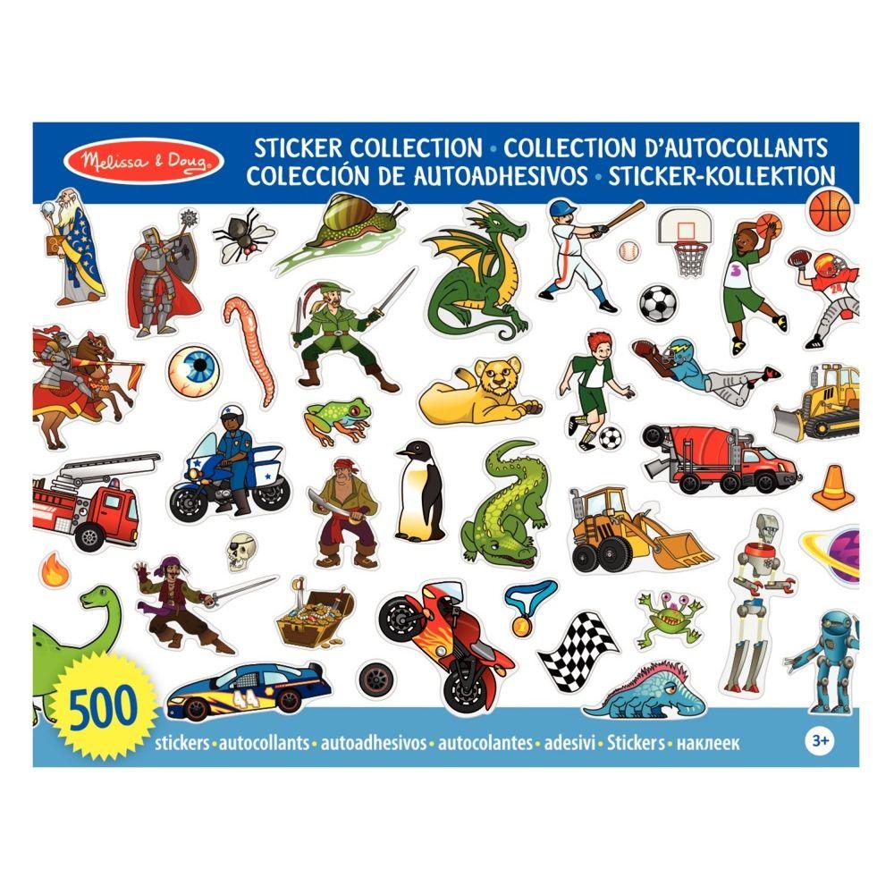 Stickers non repositionnables de 10 thèmes différents pour garçon - Pochette de 500