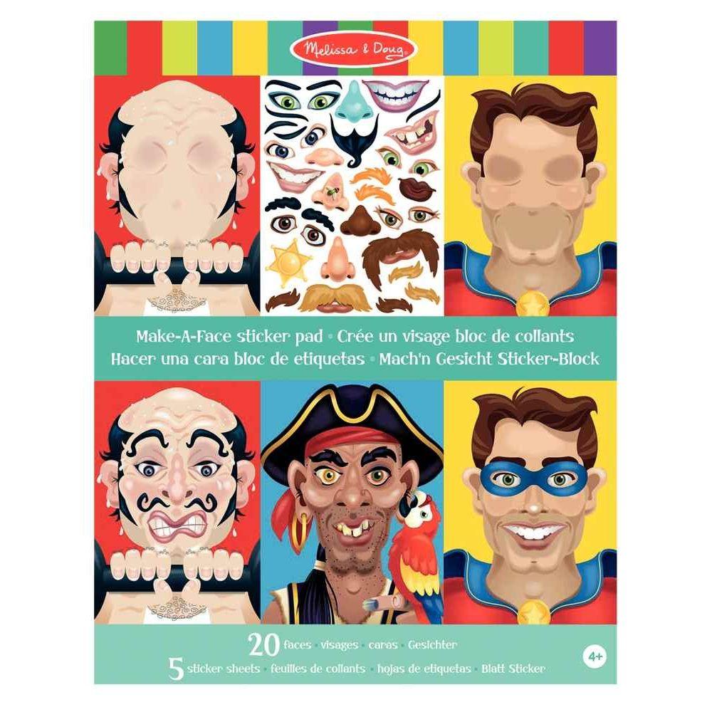 Pochette de 160 Stickers + 20 visages garçons non repositionnable