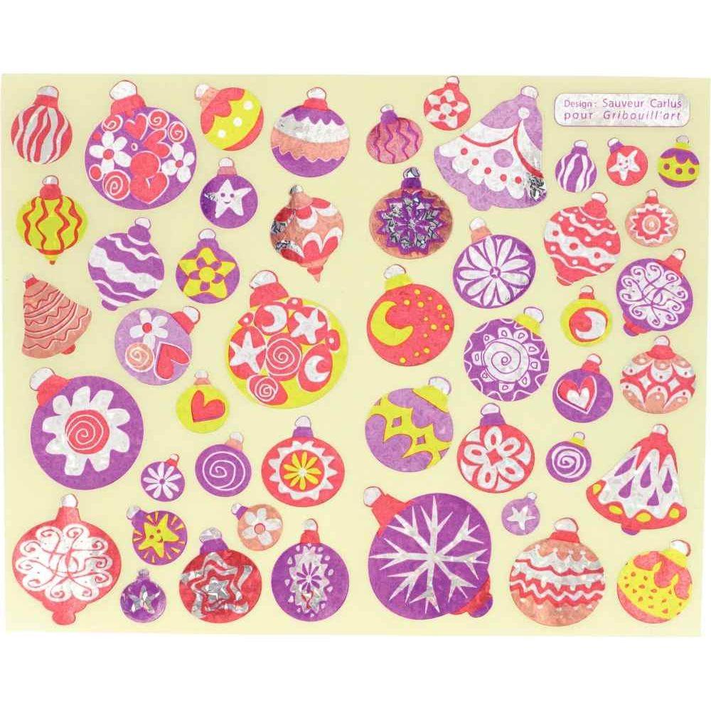 Gommette boules de Noël holographique - Pochette de 376