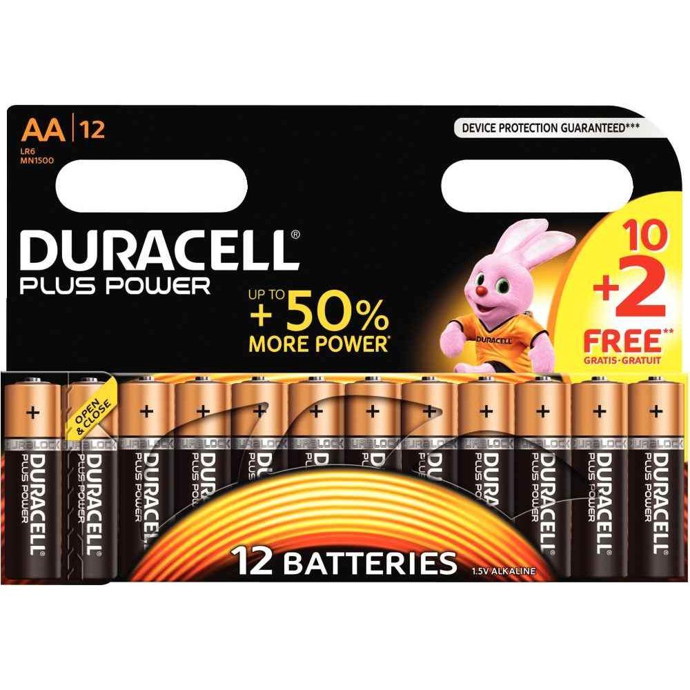 Piles alcaline Duracell LR06 AA - Blister de 10 + 2