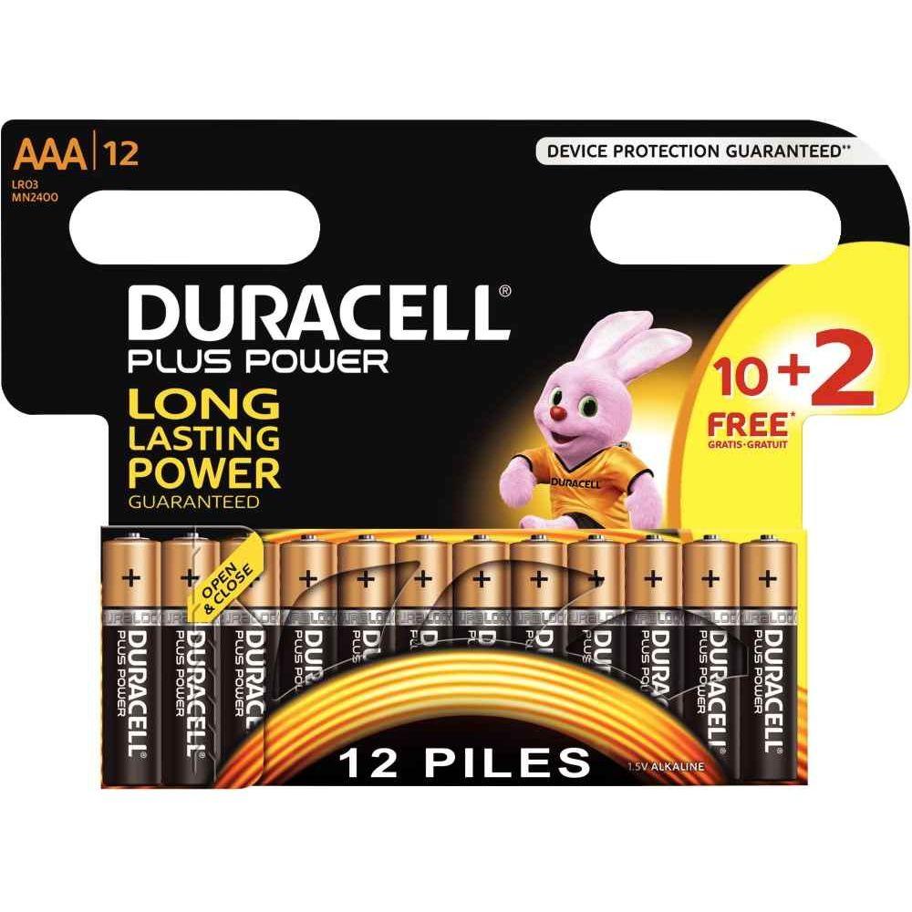 Piles alcaline Duracell LR03 AAA - Blister de 10 + 2