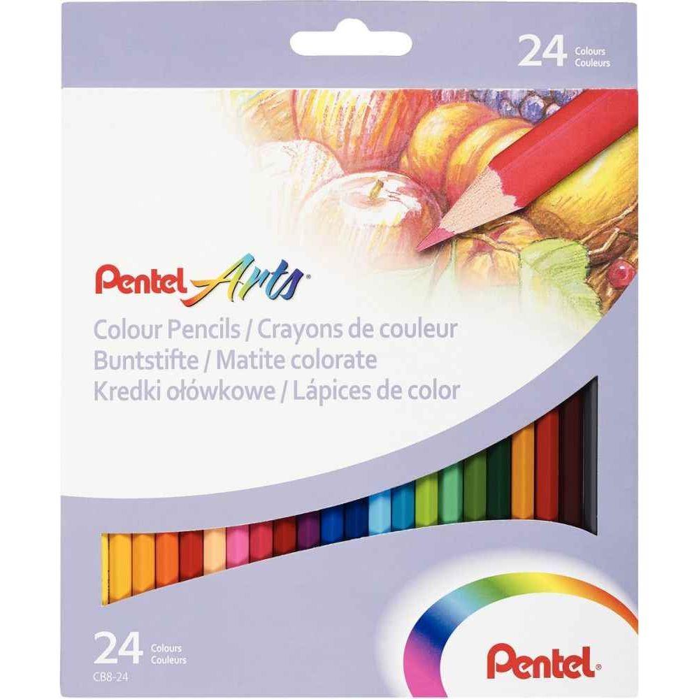 Pentel - 024183 - Crayon de couleur assorti - Etui de 24