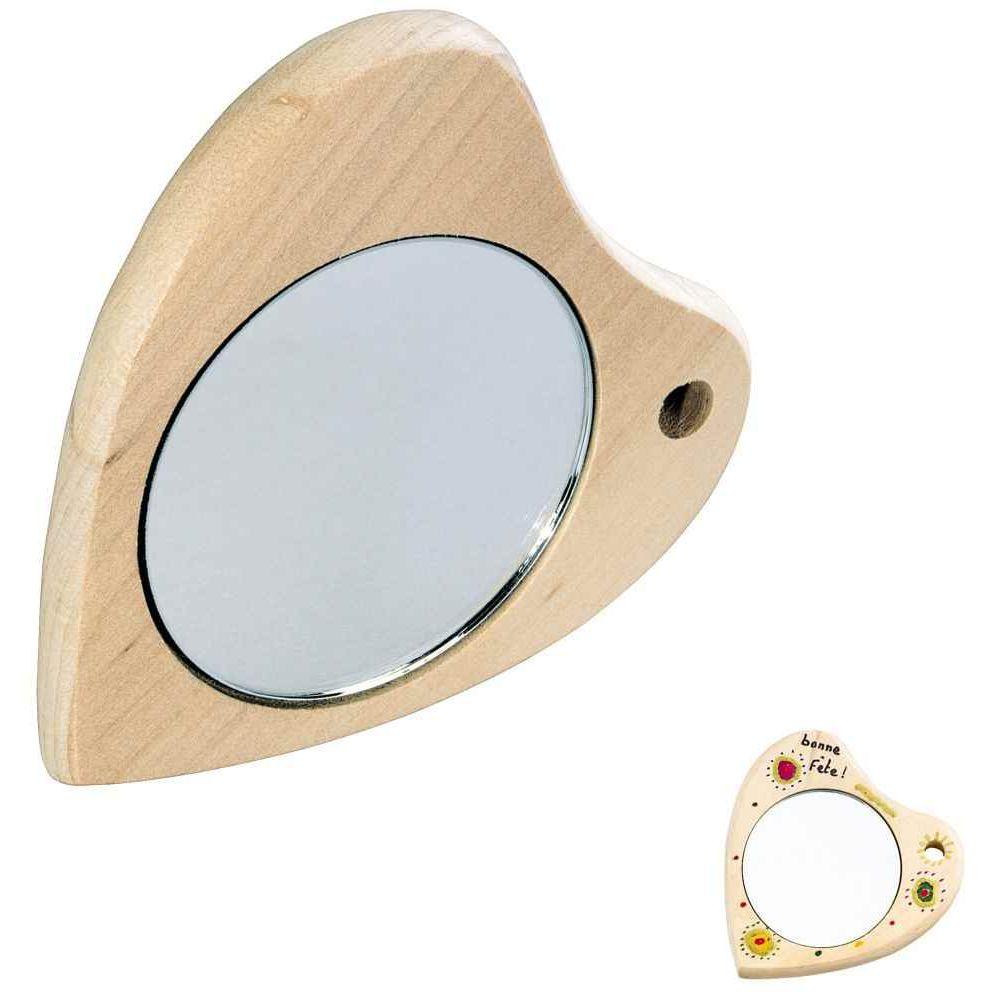 Miroir forme coeur bois lot de 3 objets en bois sur for Coeur couronne et miroir